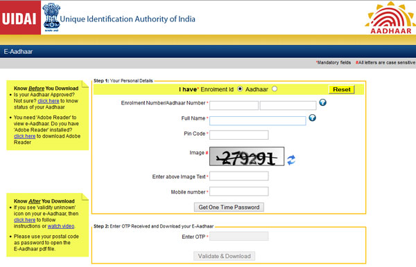 E Aadhar Card Download Online by Aadhaar Number