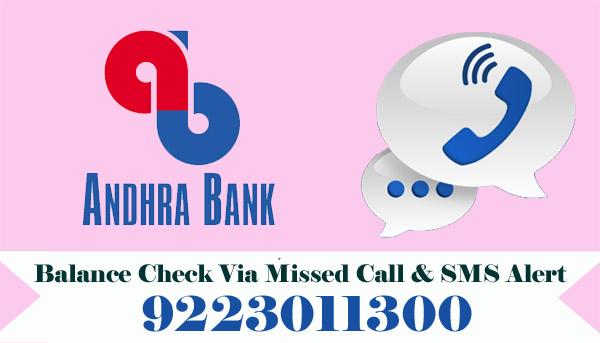 Andhra Bank Balance Check Via Missed Call & SMS Alert