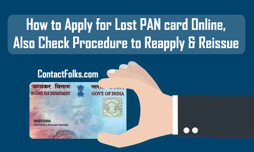 How to Apply for Lost PAN Card Online 2019, Also Check Procedure to Reapply & Reissue